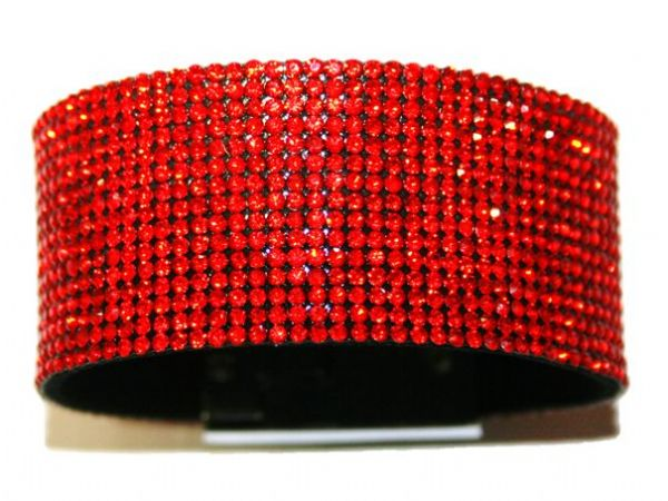 Diamante crystal bling cuff bracelet kit - Red - light siam -- c4009006kit